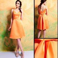 Sexty V-neckline 100% Guaranteed 7318 short Organza Satin Bridesmaid Dress/Party Dress