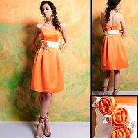 Cheaper Free Shipping Elegant 7320 Knee-length hand-made flower Satin Bridesmaid Dress/Party Dress