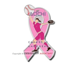 Free Shipping Newest High Quality Breast Cancer Awareness Sports Girl Softball Pink Ribbon Lapel Pins(China (Mainland))