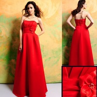 2011 Best Selling 7310 Floor-length Sleeveless Red Satin Bridesmaid Dress/Party Dress