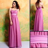 7312 Free Shipping Floor-length Spaghetti Straps Lilac Chiffon Bridesmaid Dress/Party Dress