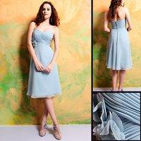7313 Elegant Knee-length Sleeveless LightSlateGray Chiffon Bridesmaid Dress/Party Dress