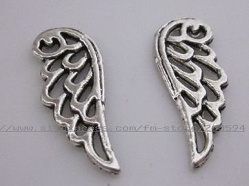 free shipping 30pcs antique silver fashion nice wing charms pendant metal charms jewelry accessories
