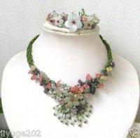 china jade flower Jewelry necklace\pendant bracelet Fashion Free shipping