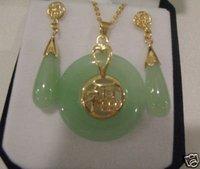 Beautiful Natural 14 K Gold Jade Pendant & Earrings Set Fashion Free shipping