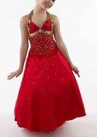Free shipping 2011 new arrival ruffle ball gown halter beaded flower girl dress children gown dress