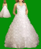 Free shipping 2011 bestselling ruffle ball gown halter flower girl dress ruched children gown dress