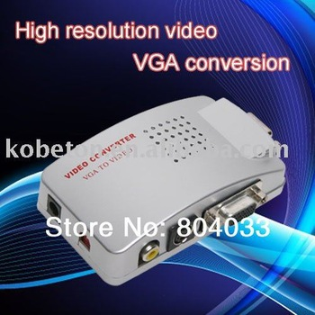Universal PC VGA to TV AV RCA Signal Adapter Converter Video Switch Box Supports NTSC PAL system, Free Shipping