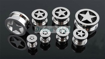 Free Shipping Ear piercing Ear stud Ear nail Earring Tunnel 316L Surgica steel 24pcs/lot