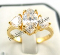 Free Shipping Shinning 18Kt Yellow Gold Noble Oval White Diamond Lady's Size 8 Fashion Dangle Ring