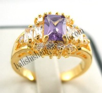 Free Shipping Shinning 18Kt Yellow Gold Noble Cube Purple Diamond Lady's Size 8 Fashion Dangle Ring