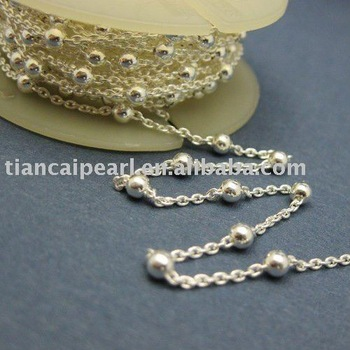 Jewelry Chain - Silver Plated Cable Oval link with 3mm Ball Jewelry Accessories Findings Fittings