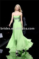 J9609 High quality chiffon strapless gorgeous evening gown prom dress