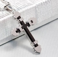 Free Shipping, Fashion Silver Black Cross Pendant Necklace For Mens 316L Stainless Steel Jewelry, Wholesale WP397
