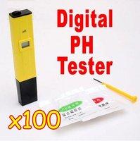 100PCS/lot Brand New Digital pH Meter Tester Pocket Pen For Aquarium Pool Water,school laboratory EMS Free Shipping