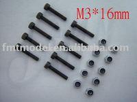 F01522   M3 x 16mm Nut & Screw, For  Trex T-rex 450 main rotor holder set + Free shipping