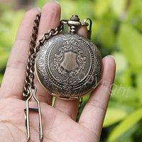 Fashion Bronze Tone Pattern Case Hand Wind Mechanical Pocket Watch w/Chain Wholesale Price Nice Gift H042