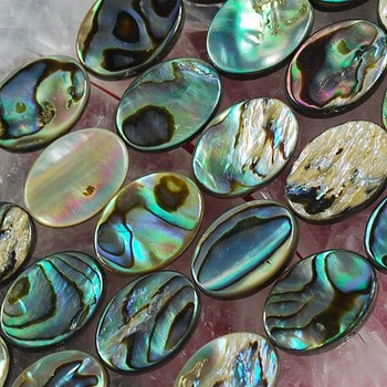 "14X10MM MOP Abalone Shell Flat Oval Jewelry Loose Beads 16"" for Pendants Necklaces Earrings Bracelets Beads"