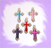 100pcs cross Hang Charms Fit Pet Dog Cat Tag Collar Wristband