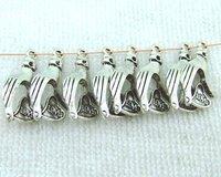 Free Shipping Wholesale 100pcs Alloy Tibetan Silver Loose Hand&Heart Beads Fit Bracelet Buy 1 lot get 10pcs  free