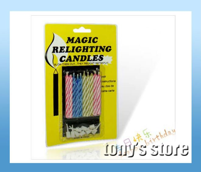 Joking toys Magic Relighting Candles for Halloween,April Fools' Day,birthday 10pcs/bag,36bags/lot + free shipping(China (Mainland))