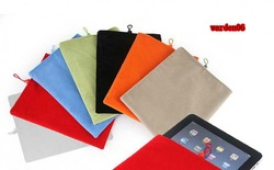 Multi-Color Soft Velvet Cloth Bag / Case / Cover for iPad 2 / iPad2 , Cloth Protecting Pouch / Skin for iPad 2 50pcs/lot(China (Mainland))