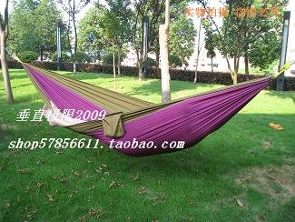 free shipping by CPAM parachute cloth 260cm*140cm double hammock tourism camping purple darkgreen camel allowable 180kg