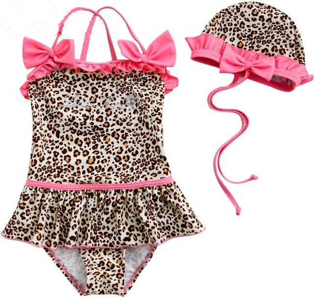 Name brand baby girl Leopard print bikini swimwear 3~7Tchild swimsuit