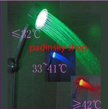 wholesale free shipping 40pcs LED Temperature Control 3 Color Lights Shower Head 4LEDs