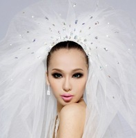 Свадебная фата 2012 bridal veil aesthetic elegant hair accessory wedding double layer veil two layers with with comb extra long