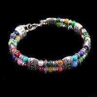 4 PC Rare beatifull color jade & silver tibet bracelet  shipping free