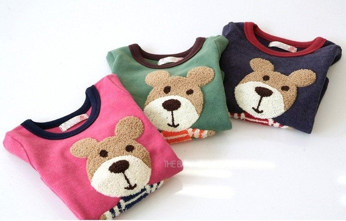 Free shipping Factory Direct!Wholesale Children's clothing 3-color wild Cubs long sleeve T shirt towel rust / primer shirt(China (Mainland))