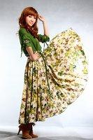 D0025-2  Flower in green Long sleeve NEW high quality women's fashion linen patchwork dress