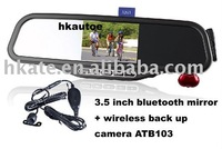 3pcs/lot driver lover 3.5 inch Car Bluetooth  mirror + wireless back up parking  camera ATB103 free shipping