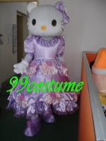 Free Shipping Adult Size Lovely purple dress hello Kitty Cat Cosplay Mascot Costume Cosplay Christmas Hallowmas Party Dress