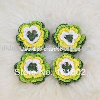 Free shipping 10PCS Handmade Crochet Fashion Accessories Flowers DIY Applique 2.4'