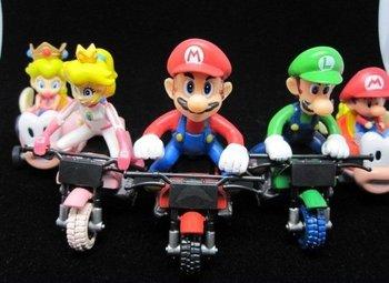 5pcs/Set Super Mario Bros. Kart Pull Back Car Figurines Best Gift