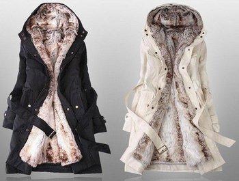 Free Shipping EUROPE SIZE Faux fur lining women's fur coats winter warm long coat jacket clothes( fur lining can separable)