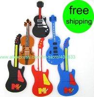 Best 5pcs/lot Full Capacity 4G novelty Guitar shaped shaped USB flash drive EMS free shipping
