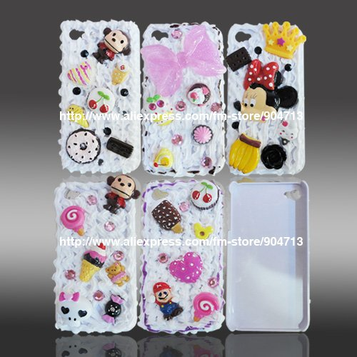 10pcs/lot New Arrival 3D Cute Cake Hard Case Bling Case For iPhone 4 4G,Free Shipping(China (Mainland))