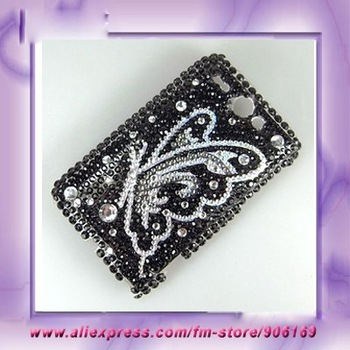 Bling Phone Case 100% Brand New Clear Butterfly Bling Rhinestone Hard Case Cover Skin For HTC Wildfire G8 Case Free Shipping