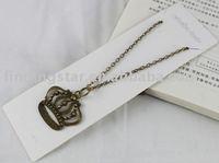FREE SHIPPING 3PCS Antiqued Bronze Crown Pendant Necklace #20039