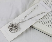 FREE SHIPPING 3PCS Tibetan silver Rose Flower Pendant Necklace #20045