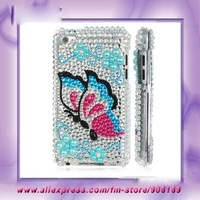 Free Shipping For ipod touch 4 4G 4th Gen Bling Case Butterfly Bling Plastic Hard Cover Case For ipod touch 4 4th