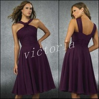 China Wholesale Best Selling PD004 Grape Knee-length Bridesmaid Dresses/Prom Dresses