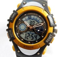 Free Shipping Mix Wholesale Digital Sports Wrist Watch Pointer Weekday Date Alarm Light Gift Yellow Min Order 1pcs