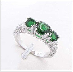 Free Shipping Pretty Jewelry Emerald 14k White gold gp Ring #8,The best gift for x-mas(China (Mainland))