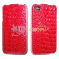 Vertical Leather case For iphone 4G, Free shipping red black white crocodile Leather case cover for iPhone 4
