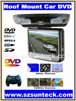 free shipping for 9 inch Roof mount car dvd palyer with 32bit game+MPEG4+USB+SD+FM
