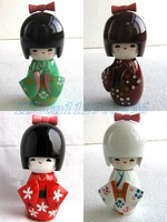 "Free shipping! 50pcs Oriental Japanese Kokeshi dolls wooden doll 3.5""/9cm D12"